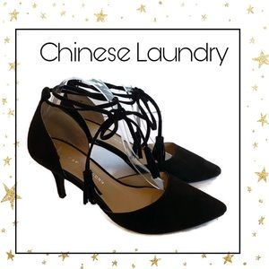 Chinese Laundry Black Suede Ankle Tie Heels 9.5